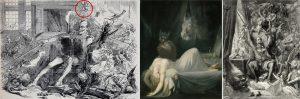 V.l.n.r.: Jules Pelocq (Erster Bogen, Panel 1), Johann Heinrich Füssli, Gustave Doré. Der rote Kreis markiert den von Füssli übernommenen Nachtmahr.