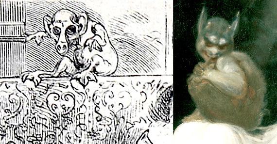 V.l.n.r.: Pelocqs Kreatur (Detail), Füsslis Nachtmahr